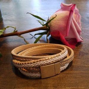 Jewelry - Boho double strand faux leather wrap bracelet